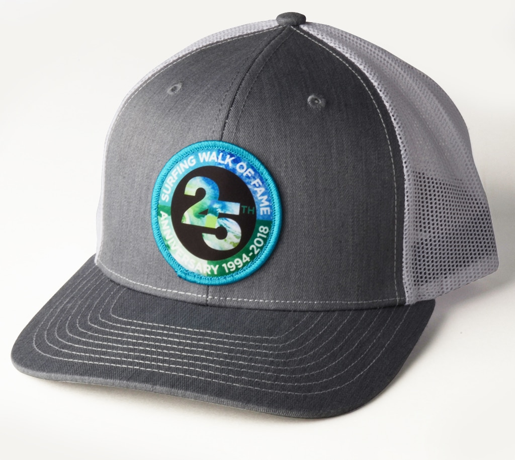 """los angeles 58ce7 f6b2e Surfing Walk of Fame 25th Anniversary Embroidered Patch """"Trucker Style Hat""""  Gray and White"""